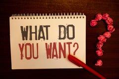 Texte d'écriture ce qui vous veulent la question Le besoin de contemplation d'aspiration de signification de concept contemplent  photo libre de droits