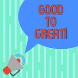 Texte d'écriture de Word bon à grand Concept d'affaires pour tout obtenant bien mieux obtenant le succès dans le mégaphone de pro illustration stock