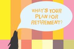 Texte d'écriture de Word ce que S est votre plan pour Retirementquestion Concept d'affaires pour la vision pour la future découpe illustration stock