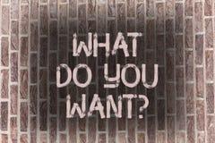 Texte d'écriture de Word ce qui vous font Wantquestion Le concept d'affaires pour le besoin de contemplation d'aspiration contemp illustration stock