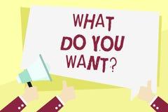 Texte d'écriture de Word ce qui vous font Wantquestion Le concept d'affaires pour le besoin de contemplation d'aspiration contemp illustration libre de droits