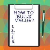 Texte d'écriture de Word comment construire Valuequestion Concept d'affaires pour des stratégies pour le développement obtenant l illustration libre de droits
