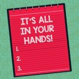 Texte d'écriture de Word il s est tout dans des vos mains Le concept parce que nous d'affaires tiennent la rêne de notre destin e illustration de vecteur