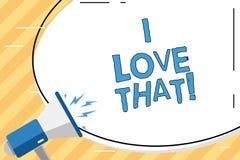 Texte d'écriture de Word j'aime cela Concept d'affaires pour avoir l'affection pour quelque chose ou quelqu'un sentiments de Roan illustration stock