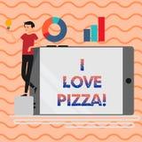Texte d'écriture de Word j'aime la pizza Concept d'affaires pour pour aimer la nourriture beaucoup italienne avec des pepperoni d illustration libre de droits