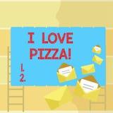 Texte d'écriture de Word j'aime la pizza Concept d'affaires pour pour aimer la nourriture beaucoup italienne avec des pepperoni d illustration de vecteur