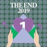 Texte d'écriture de Word la fin 2019 Concept d'affaires pendant des jours finaux de bonne année de célébration de 2018 résolution illustration libre de droits