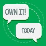 Texte d'écriture de Word le posséder Le concept d'affaires pour on appartenant à se soit responsable de vos activités deux d'acti illustration stock