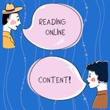 Texte d'écriture de Word lisant le contenu en ligne Concept d'affaires pour extraire la signification à partir d'un homme des tex illustration libre de droits