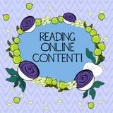 Texte d'écriture de Word lisant le contenu en ligne Concept d'affaires pour extraire la signification à partir d'un texte numériq illustration de vecteur