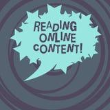 Texte d'écriture de Word lisant le contenu en ligne Concept d'affaires pour extraire la signification à partir d'un ovale vide de illustration libre de droits
