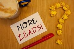 Texte d'écriture de Word plus d'appel de motivation d'avances Concept d'affaires pour les clients potentiels supplémentaires Give Photos stock