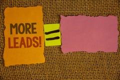 Texte d'écriture de Word plus d'appel de motivation d'avances Concept d'affaires pour les clients potentiels supplémentaires Give Photo libre de droits