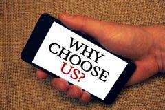 Texte d'écriture de Word pourquoi choisissez-nous question Concept d'affaires pour des raisons pour laquelle vous êtes le meilleu photographie stock