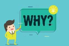 Texte d'écriture de Word pourquoi question Concept d'affaires pour demander quels raison et but exprimant la surprise illustration de vecteur