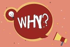 Texte d'écriture de Word pourquoi question Concept d'affaires pour demander quels raison et but exprimant la surprise illustration libre de droits