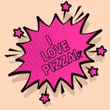 Texte d'écriture j'aime la pizza Signification de concept pour aimer la nourriture beaucoup italienne avec des pepperoni de jambo illustration stock