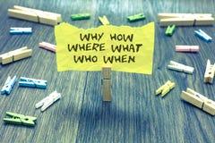 Texte d'écriture pourquoi comment où ce qui qui quand Questions de signification de concept pour trouver la question de solutions photos stock