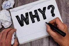 Texte d'écriture pourquoi question Signification de concept demandant quels raison et but exprimant la surprise photos libres de droits