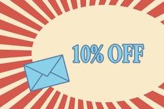 Texte 10 d'écriture  Remise de signification de concept de dix pour cent au-dessus du dégagement de vente de promotion de prix or illustration stock