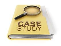Texte d'étude de cas sous la loupe illustration 3D illustration libre de droits