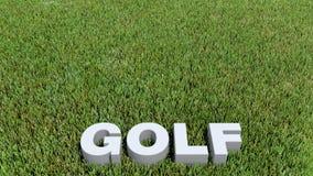 Texte 3D гольфа на траве Стоковые Изображения