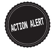 Texte d'ACTION-ALERT, sur le timbre noir d'autocollant Photos stock