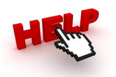 Texte d'aide avec le curseur d'ordinateur Images libres de droits