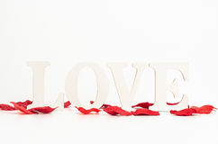 Texte d'amour avec des pétales de rose à l'arrière-plan blanc Photographie stock libre de droits