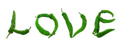 Texte d'amour composé de poivrons verts Photos libres de droits
