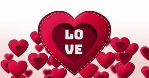Texte d'amour et coeurs piqués de valentines Photos stock