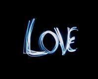 Texte d'amour peint avec la lumière Photos stock