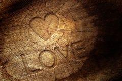 Texte d'amour sur le fond en bois Photographie stock libre de droits