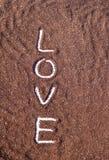 Texte d'amour sur le poweder de cacao Photo stock