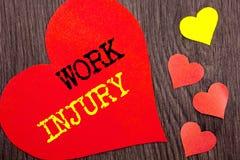 Texte d'annonce d'écriture montrant la blessure de travail Concept signifiant le mauvais accident de corps comme protection de se Photo libre de droits