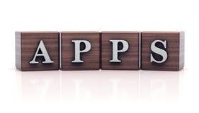 Texte d'Apps sur les cubes en bois Photographie stock libre de droits