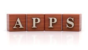 Texte d'Apps sur les cubes en bois Photos libres de droits