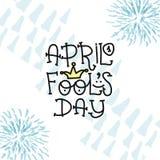 Texte d'April Fools Day avec le clown de couronne 1er avril Illustration pour la carte de voeux, bannière, annonce, promotion, af Photos libres de droits