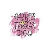 Texte d'April Fools Day avec le clown de couronne 1er avril Illustration pour la carte de voeux, bannière, annonce, promotion, af Photo libre de droits
