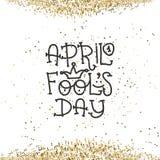 Texte d'April Fools Day avec le clown de couronne 1er avril Illustration pour la carte de voeux, bannière, annonce, promotion, af Image libre de droits