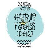 Texte d'April Fools Day avec le clown de couronne 1er avril Illustration pour la carte de voeux, bannière, annonce, promotion, af Illustration Stock
