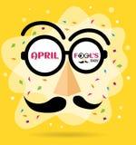 Texte d'April Fools Day et verres drôles Images stock