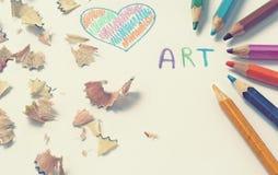 Texte d'art avec des crayons de couleur Photo libre de droits