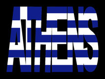 Texte d'Athènes avec l'indicateur grec Photographie stock