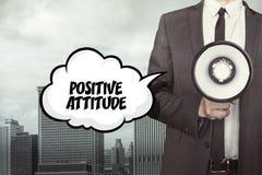 Texte d'attitude positive sur la bulle de la parole avec l'homme d'affaires illustration stock