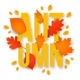 Texte d'automne avec des feuilles De nouveau à l'école illustration de vecteur