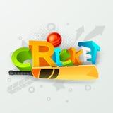 texte 3D avec la batte et boule pour le cricket Image stock