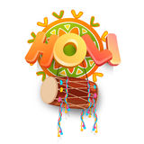 texte 3D avec le tambour pour la célébration de festival de Holi Image stock
