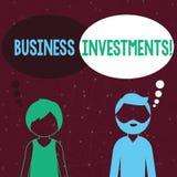 Texte d'?criture ?crivant des investissements productifs Acte de signification de concept d'argent ou de capital de engagement à  illustration libre de droits