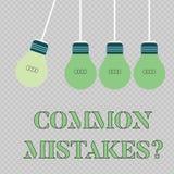 Texte d'?criture ?crivant la question d'erreurs communes Concept signifiant l'acte de répétition ou la couleur mal orientée ou fa illustration stock